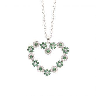 Flowers ciondolo in ottone rodiato e zirconi e catenina in acciaio P15621EM For You Jewels