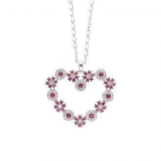 Flowers ciondolo in ottone rodiato e zirconi e catenina in acciaio P15621RB For You Jewels