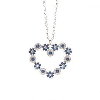 Flowers ciondolo in ottone rodiato e zirconi e catenina in acciaio P15621SP For You Jewels