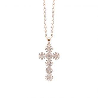 Flowers ciondolo in ottone rosato e zirconi e catenina in acciaio P15620PP For You Jewels