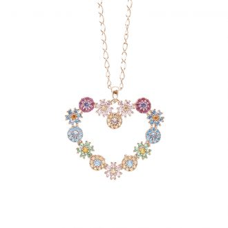 Flowers ciondolo in ottone rosato e zirconi e catenina in acciaio P15621MP For You Jewels