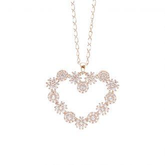 Flowers ciondolo in ottone rosato e zirconi e catenina in acciaio P15621PP For You Jewels