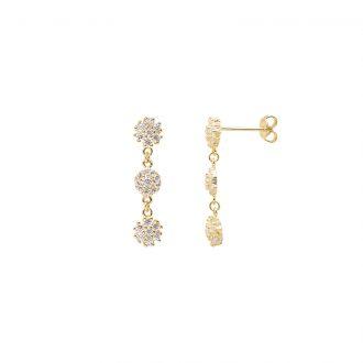 Flowers orecchini in ottone dorato e zirconi E15622GP For You Jewels