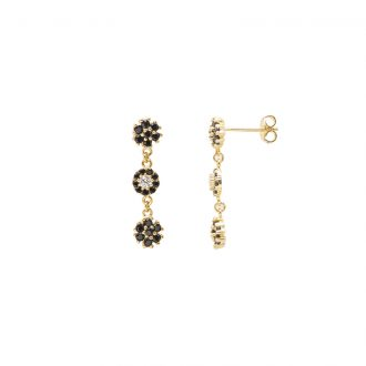 Flowers orecchini in ottone dorato e zirconi E15622RBG For You Jewels