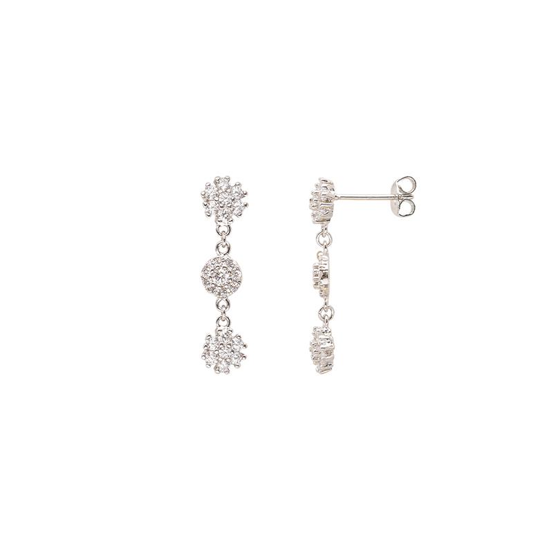 Flowers orecchini in ottone rodiato e zirconi E15622 For You Jewels