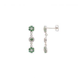 Flowers orecchini in ottone rodiato e zirconi E15622EM For You Jewels