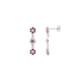 Flowers orecchini in ottone rodiato e zirconi E15622RB For You Jewels