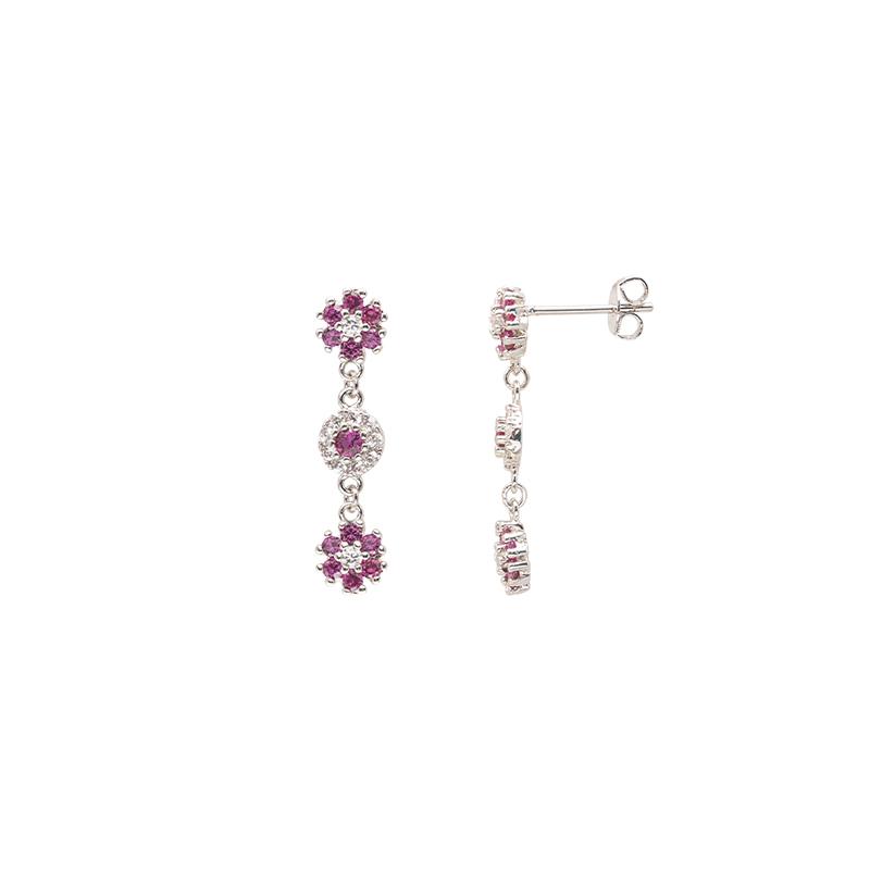 Flowers orecchini in ottone rodiato e zirconi E15622RB For You Jewels