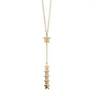 Hannah collana acciaio e cristalli con IP oro N15220 4 You Jewels