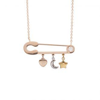 Leona collana in acciaio e cristalli con IP oro e rosa N15453 4 You Jewels