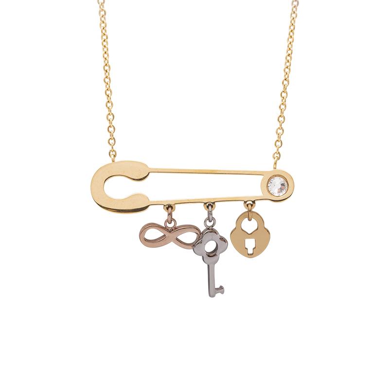 Leona collana in acciaio e cristalli con IP oro e rosa N15454 4 You Jewels