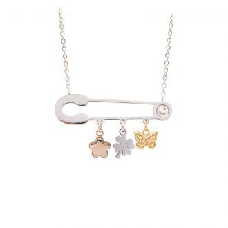 Leona collana in acciaio e cristalli con IP oro e rosa N15455 4 You Jewels