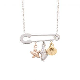 Leona collana in acciaio e cristalli con IP oro e rosa N15457 4 You Jewels