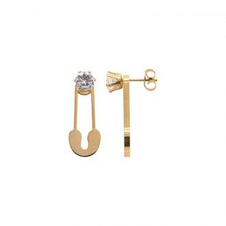 Leona orecchini in acciaio e cristalli con IP oro E15451 4 You Jewels