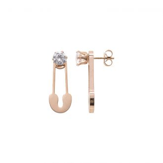 Leona orecchini in acciaio e cristalli con IP rosa E15452 4 You Jewels