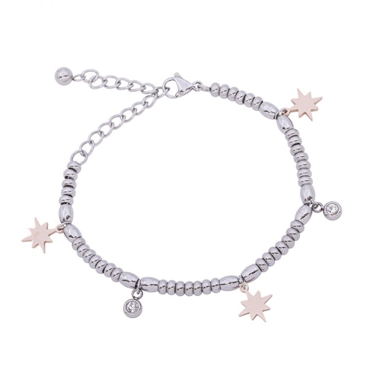 Leonora bracciale in acciaio e cristalli con IP rosa B15234 4 You Jewels