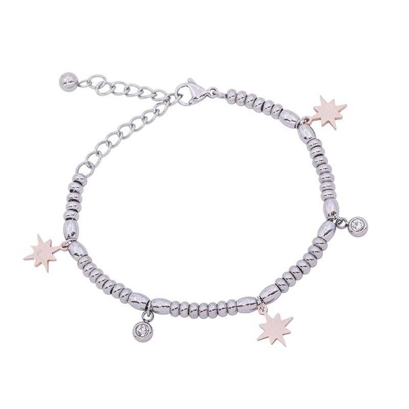 Leonora bracciale in acciaio e cristalli con IP rosa B15234 4 You Jewels