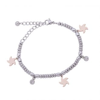 Leonora bracciale in acciaio e cristalli con IP rosa B15235 4 You Jewels