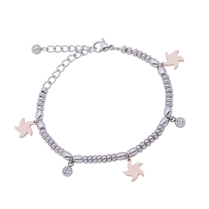 Leonora bracciale in acciaio e cristalli con IP rosa B15235 4 You Jewels