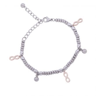 Leonora bracciale in acciaio e cristalli con IP rosa B15236 4 You Jewels 4 You Jewels