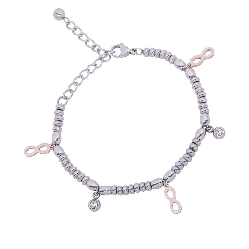 Leonora bracciale in acciaio e cristalli con IP rosa B15236 4 You Jewels 4 You Jewels