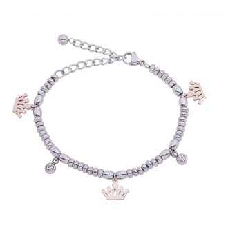 Leonora bracciale in acciaio e cristalli con IP rosa B15237 4 You Jewels