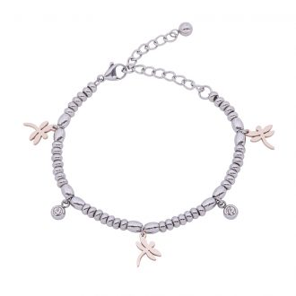 Leonora bracciale in acciaio e cristalli con IP rosa B15238 4 You Jewels