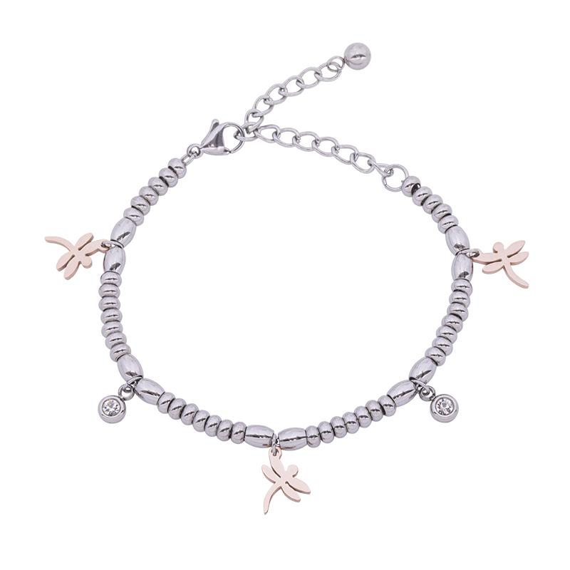 Leonora bracciale in acciaio e cristalli con IP rosa B15238 4 You Jewels