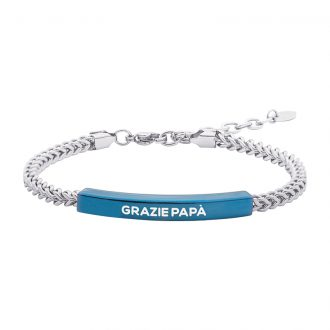 Life Is Papà Bracciale in acciaio con IP blu e incisione in smalto GRAZIE PAPÀ B15652 For You Jewels
