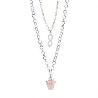 Micaela collana in acciaio con IP rosa N15644 4 You Jewels