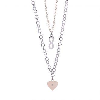 Micaela collana in acciaio e cristalli con IP rosa N15642 4 You Jewels