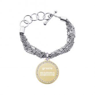 Life Is Mamma Bracciale in acciaio e medaglia in acciaio dorato e cristalli con incisione GRAZIE MAMMA B15717 For You Jewels