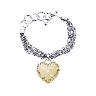 Life Is Mamma Bracciale in acciaio e ciondolo in acciaio dorato e cristalli con incisione MAMMA SEI UNICA B15716 For You Jewels