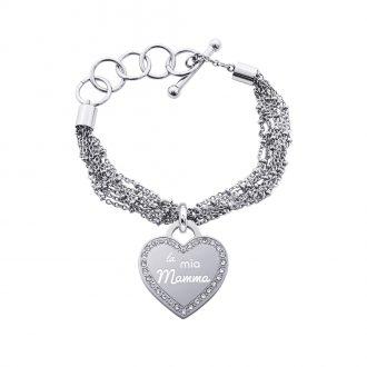 Life Is Mamma Bracciale in acciaio e medaglia in acciaio e cristalli con incisione LA MIA MAMMA B15707 For You Jewels