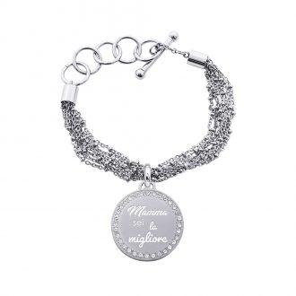 Life Is Mamma Bracciale in acciaio e medaglia in acciaio e cristalli con incisione MAMMA SEI LA MIGLIORE B15710 For You Jewels
