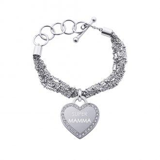 Life Is Mamma Bracciale in acciaio e medaglia in acciaio e cristalli con incisione SUPER MAMMA B15708 For You Jewels