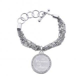 Life Is Mamma Bracciale in acciaio e cristalli con incisione UNA MAMMA PER AMICA B15709 For You Jewels
