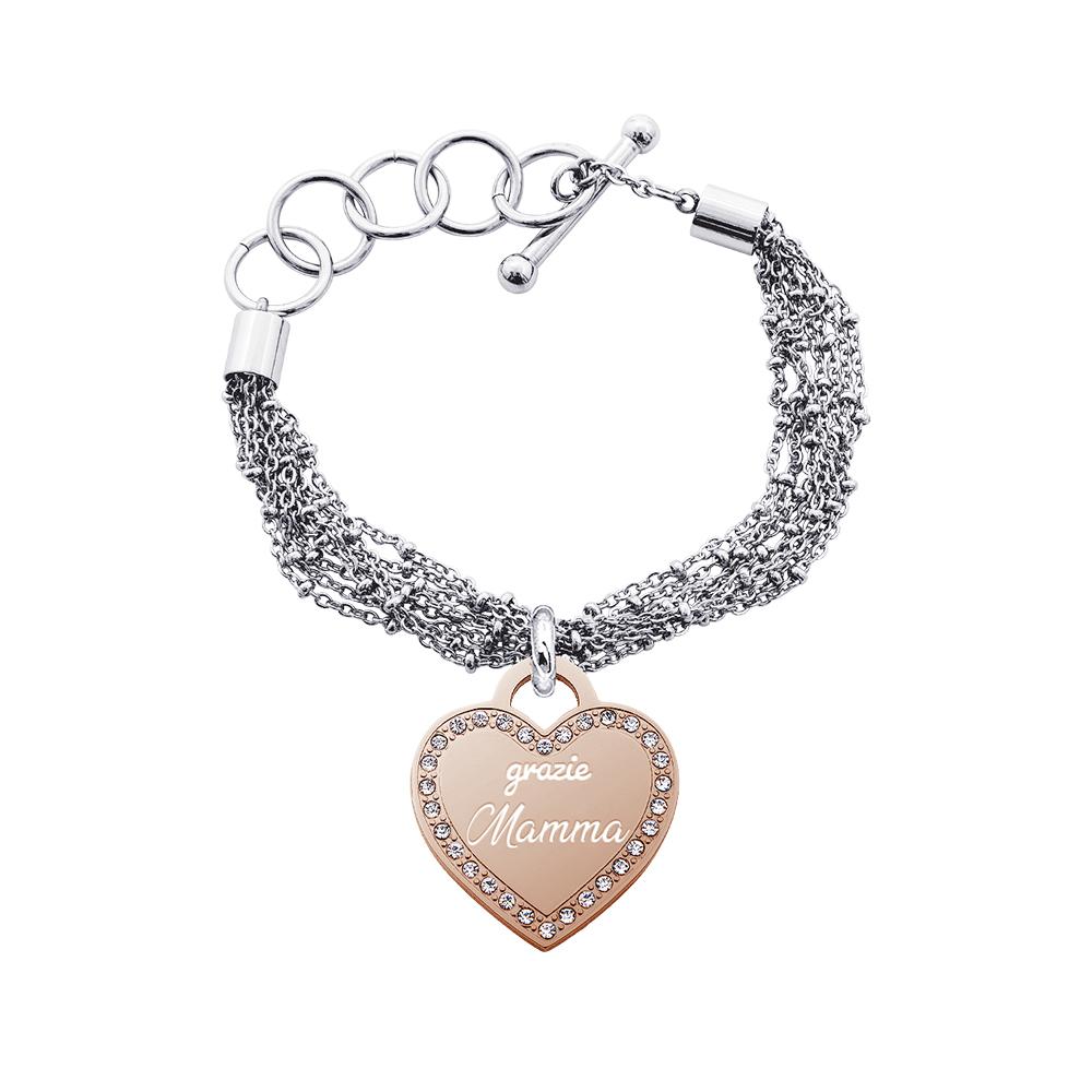 Life Is Mamma Bracciale in acciaio e medaglia in acciaio rosato e cristalli con incisione GRAZIE MAMMA B15711 For You Jewels