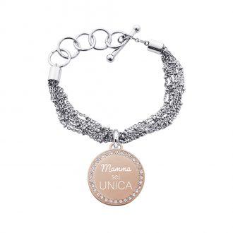 Life Is Mamma Bracciale in acciaio e medaglia in acciaio rosato e cristalli con incisione MAMMA SEI UNICA B15713 For You Jewels