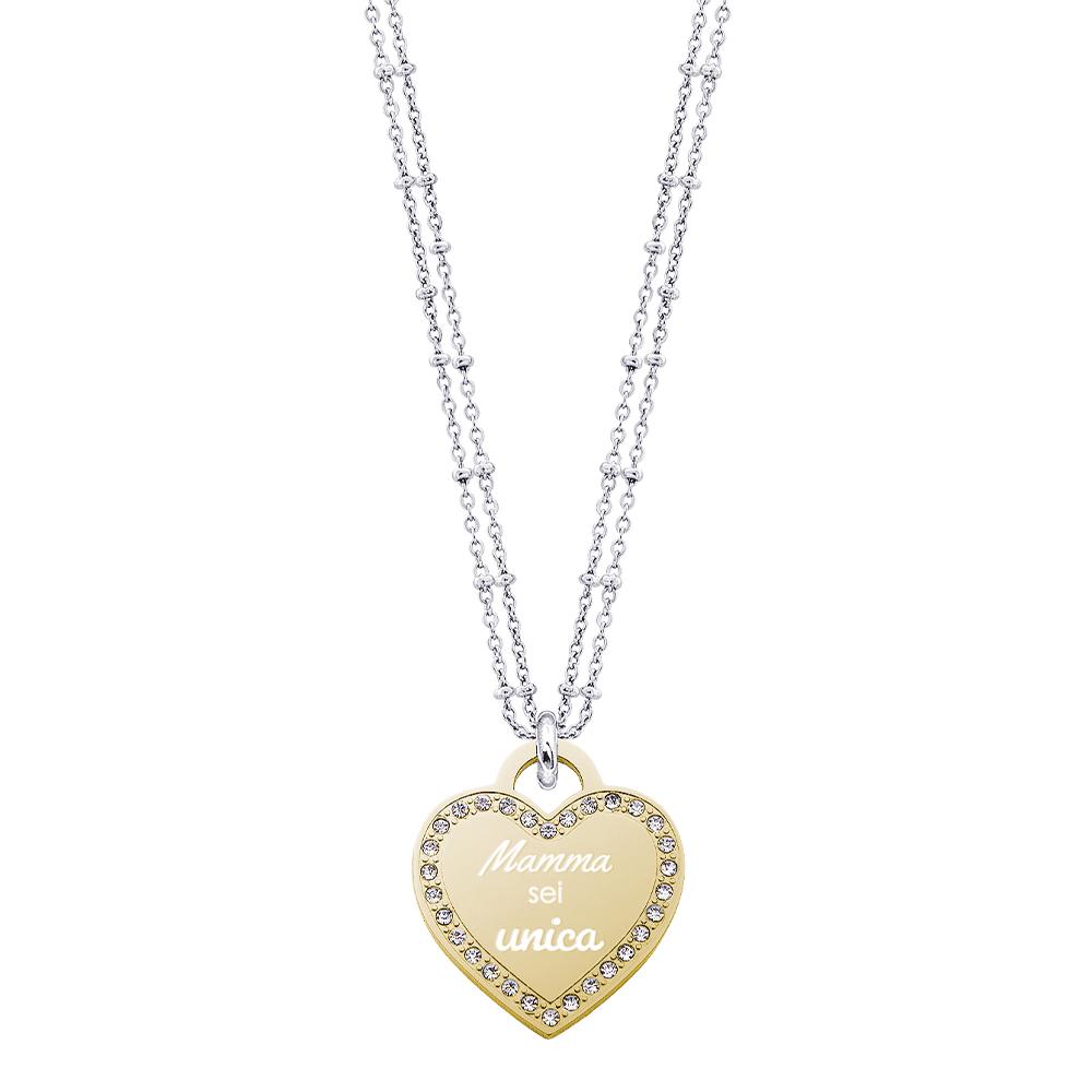Life Is Mamma Collana in acciaio e ciondolo in acciaio dorato e cristalli con incisione MAMMA SEI UNICA N15705 For You Jewels