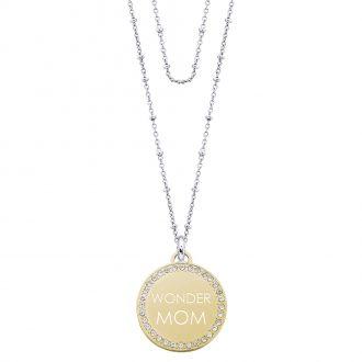 Life Is Mamma Collana in acciaio e medaglia in acciaio dorato e cristalli con incisione WONDER MOM N15706 For You Jewels