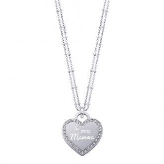 Life Is Mamma Collana in acciaio e medaglia in acciaio e cristalli con incisione LA MIA MAMMA N15701 For You Jewels