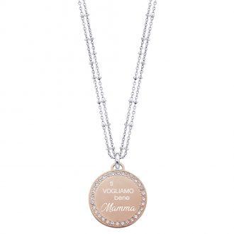 Life Is Mamma Collana in acciaio e ciondolo in acciaio rosato e cristalli con incisione TI VOGLIAMO BENE MAMMA N15704 For You Jewels