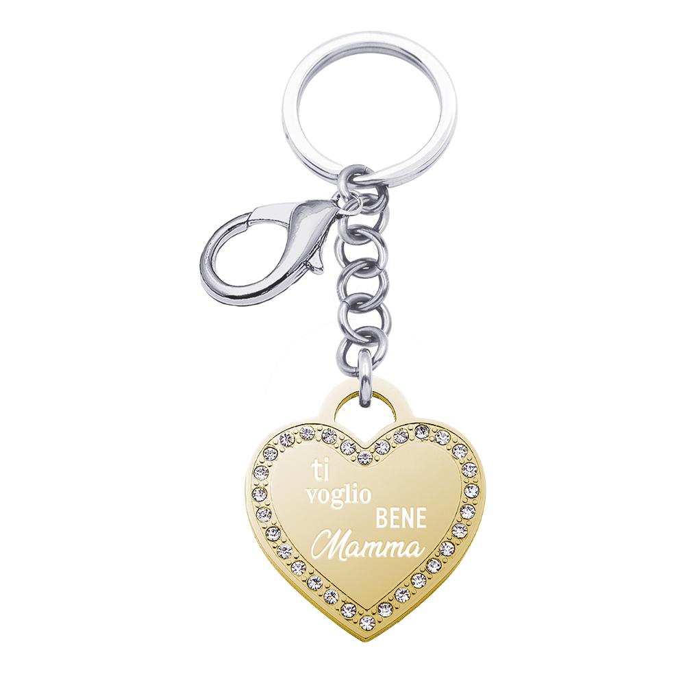 Life Is Mamma Portachiavi in acciaio e ciondolo in acciaio dorato e cristalli con incisione TI VOGLIO BENE MAMMA K15723 K15723 For You Jewels