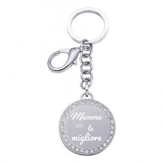 Life Is Mamma Portachiavi in acciaio e medaglia in acciaio e cristalli con incisione MAMMA SEI LA MIGLIORE K15720 For You Jewels