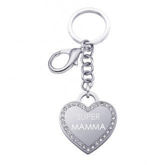 Life Is Mamma Portachiavi in acciaio e medaglia in acciaio e cristalli con incisione SUPER MAMMA K15719 For You Jewels