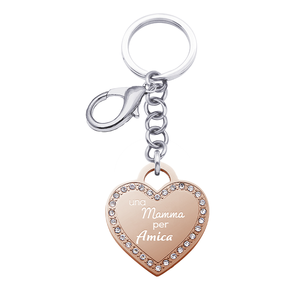 Life Is Mamma Portachiavi in acciaio e ciondolo in acciaio rosato e cristalli con incisione UNA MAMMA PER AMICA K15721 For You Jewels