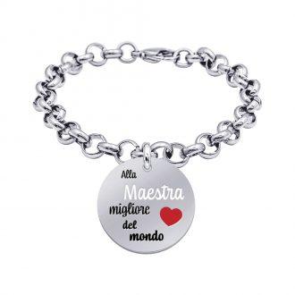 School Bracciale e Medaglia in acciaio con incisione in smalto ALLA MAESTRA MIGLIORE DEL MONDO B15808 For You Jewels