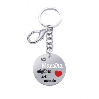 School Portachiavi e medaglia in acciaio con incisione in smalto ALLA MAESTRA MIGLIORE DEL MONDO K15820 For You Jewels