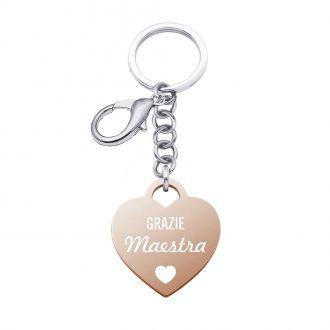 School Portachiavi in acciaio e medaglia in acciaio rosato con incisione in smalto GRAZIE MAESTRA K15818 For You Jewels